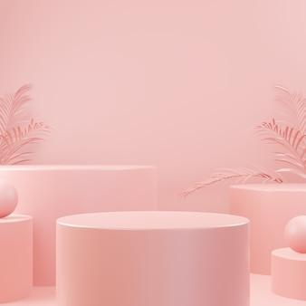 Pódio de forma geométrica de pedra de rocha abstrata de cor rosa