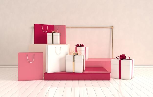 Pódio de formas geométricas renderizadas 3d no chão e sacola de compras com caixa de presente