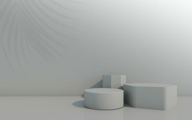Pódio de frasco cosmético com folha verde sobre fundo cinza. renderização 3d.