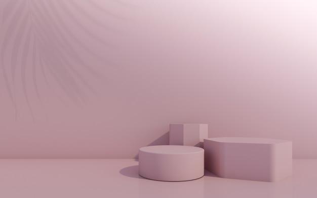 Pódio de frasco cosmético com folha verde sobre fundo rosa. renderização 3d.