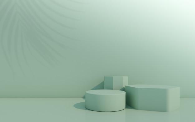 Pódio de frasco cosmético com folha verde sobre fundo verde. renderização 3d.