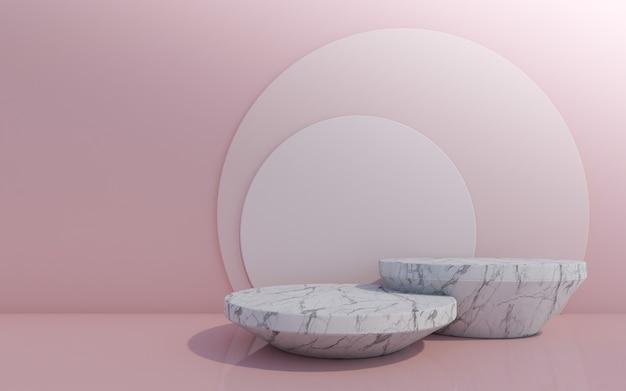 Pódio de frasco cosmético em fundo rosa. renderização 3d.