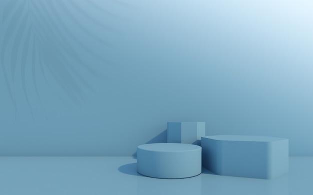 Pódio de frasco cosmético sobre fundo azul. renderização 3d.