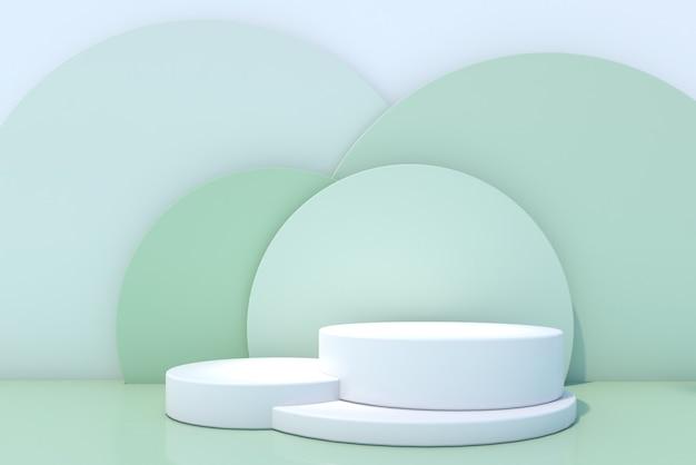 Pódio de frasco cosmético sobre fundo verde. renderização 3d.