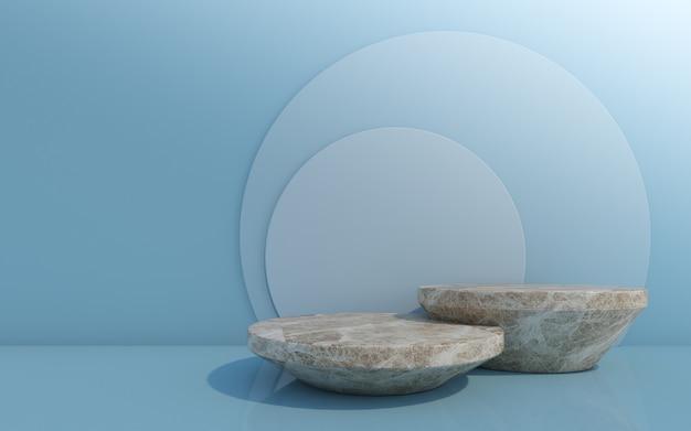 Pódio de frasco de cosmético em fundo azul renderização 3d