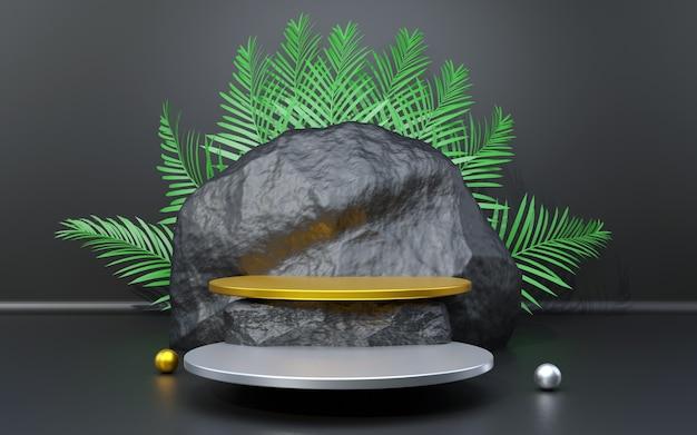 Pódio de fundo preto prateado e dourado com composição de pedra e folha de palmeira para apresentação do produto 3d render