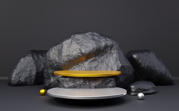 Pódio de fundo preto prateado e dourado com composição de rocha preta para apresentação do produto 3d render
