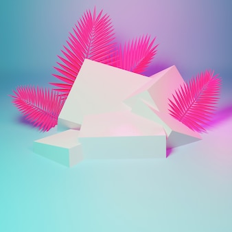 Pódio de geometria abstrata com folhas de palmeira rosa