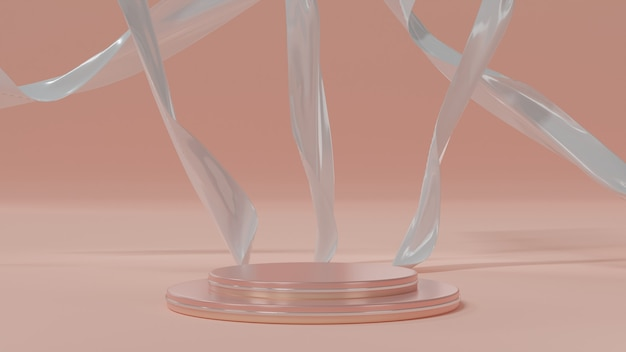 Pódio de luxo moderno rosa decorado com pano de fundo de tecido de seda branca, tela de palco elegante em tons pastéis, renderização em 3d