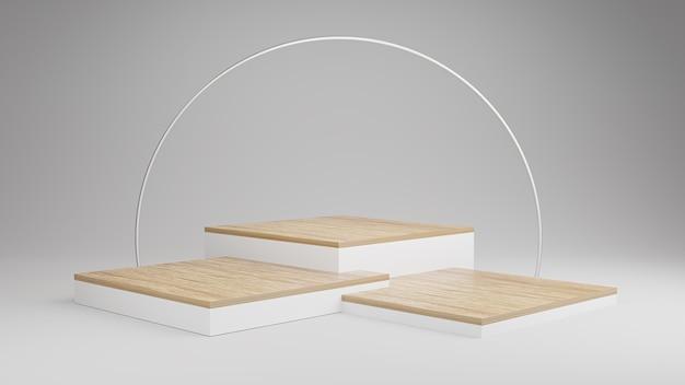 Pódio de madeira com arco branco