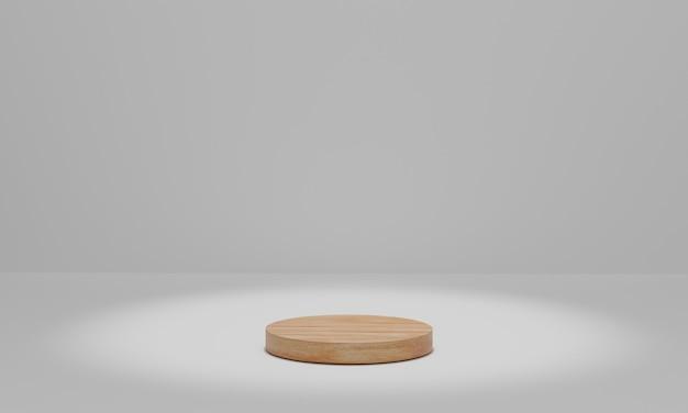 Pódio de madeira com holofotes