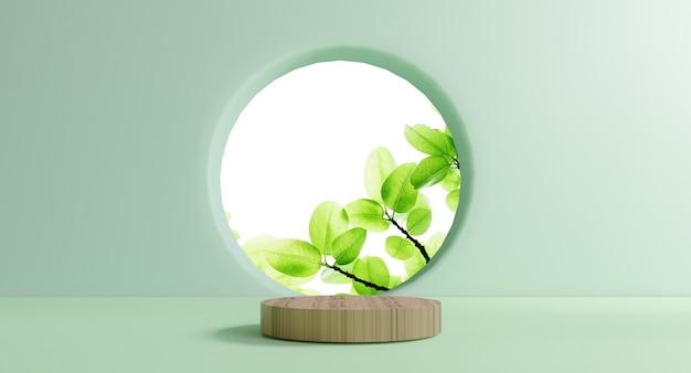 Pódio de madeira do círculo com cena de folha verde mínima da janela do círculo na vegetação da parede verde e exibição de estágio de produto ambiental pela técnica de renderização em 3d.