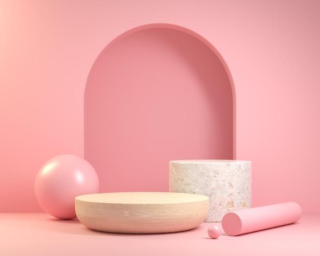 Pódio de madeira e mármore em fundo rosa