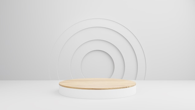 Pódio de madeira minimalista em composição branca abstrata para apresentação de produto, cena de verão