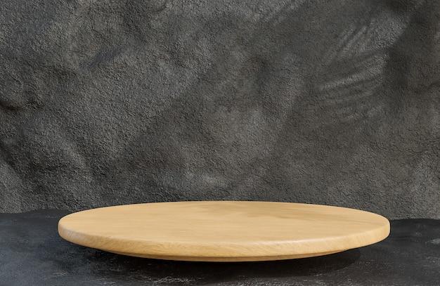 Pódio de madeira para apresentação de produtos em estilo luxuoso de fundo de parede de pedra., modelo 3d e ilustração.