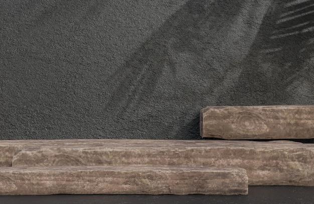 Pódio de madeira para apresentação de produtos em estilo luxuoso de fundo de parede de pedra, modelo 3d e ilustração.