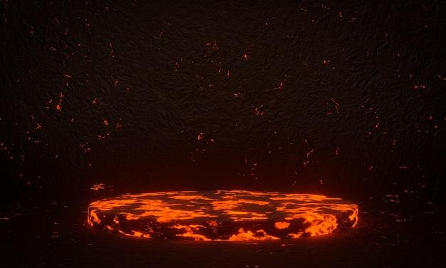 Pódio de magma vulcânico abstrato renderizado em 3d