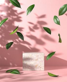 Pódio de maquete vazio moderno com queda de folhas e sombra de luz solar no fundo rosa de concreto