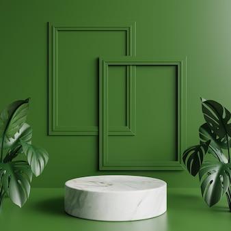 Pódio de mármore branco com folhas de monstera e porta-retratos verdes