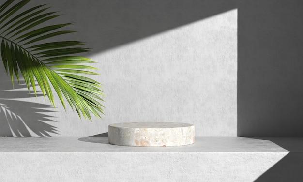 Pódio de mármore branco com folhas de palmeira