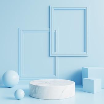 Pódio de mármore branco com porta-retratos na parede azul