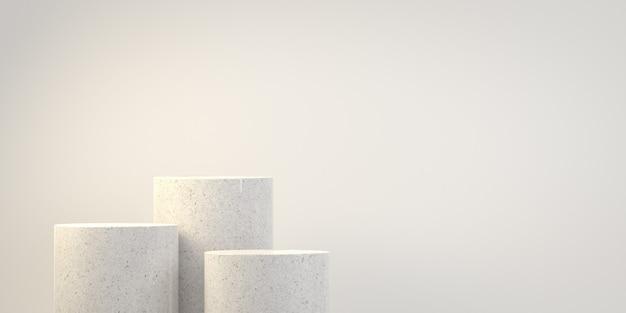 Pódio de mármore de etapa básica mínima vazia com fundo de espaço de cópia renderização em 3d