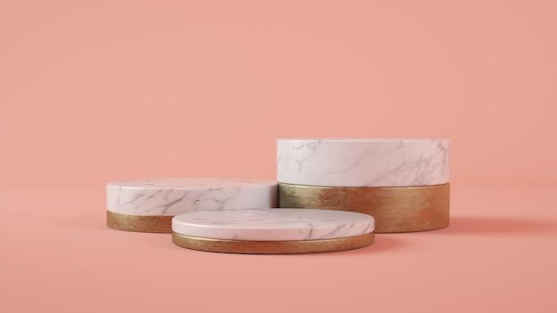 Pódio de mármore e ouro na renderização 3d de fundo rosa