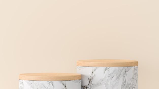 Pódio de mármore e tampo de madeira sobre fundo creme para exibição de apresentação de produtos