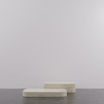 Pódio de mármore minimalista geométrico em 3d para colocação de produtos