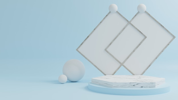 Pódio de mármore para colocar produtos com um fundo azul.