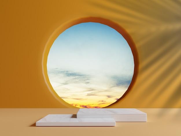 Pódio de mármore quadrado duplo com cena de céu de nuvem azul mínimo da janela do círculo e palma deixa sombra na parede laranja para exibição de estágio de produto de verão pela técnica de renderização em 3d.