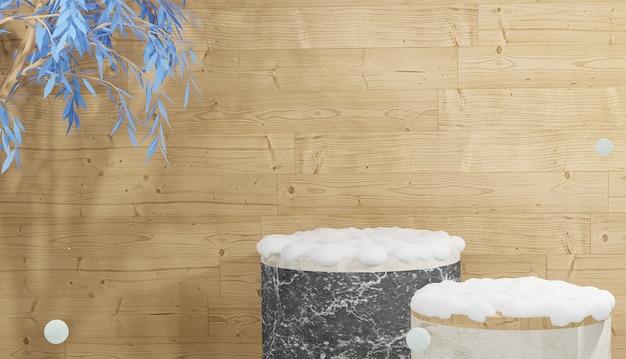 Pódio de mármore vazio com folhas e coberto por neve pesada no fundo de madeira renderização 3d inverno