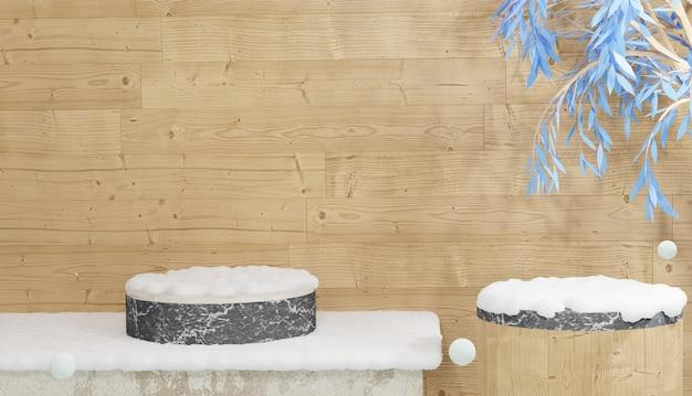 Pódio de mármore vazio com folhas e coberto por neve pesada. renderização 3d tema de inverno