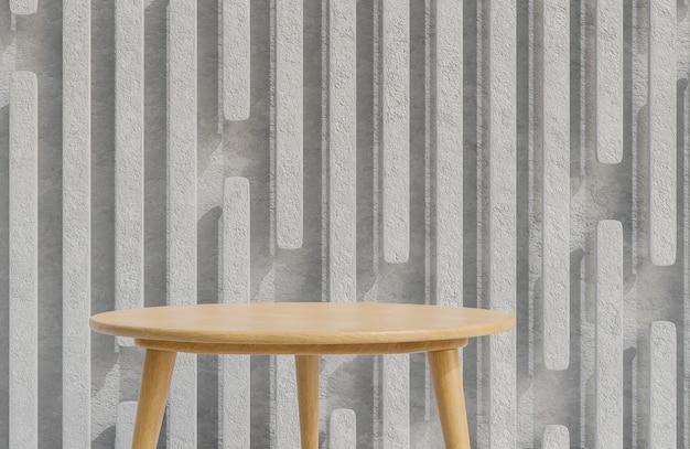 Pódio de mesa de madeira para apresentação de produtos em estilo minimalista de fundo de parede de concreto., modelo 3d e ilustração.