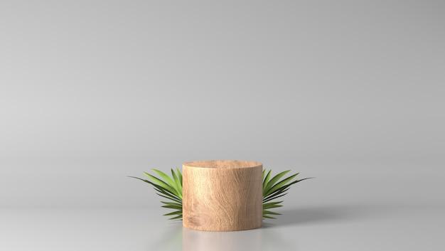 Pódio de mostra de cilindro de madeira fina marrom mínimo com folhas de palmeira em fundo branco