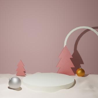 Pódio de natal, árvore de natal e bola