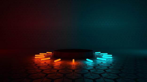 Pódio de néon vermelho e azul para exibição