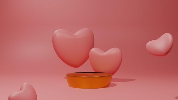 Pódio de ouro 3d com conceito de corações.