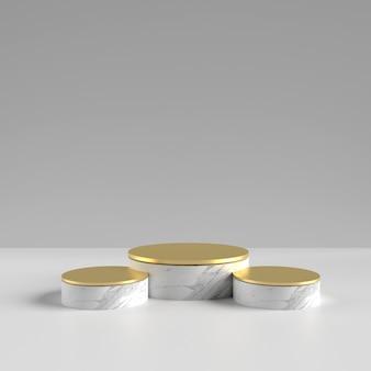 Pódio de ouro branco para colocação de produto com textura cerâmica
