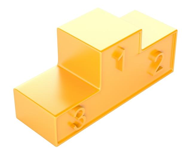 Pódio de ouro com três fileiras isoladas no fundo branco