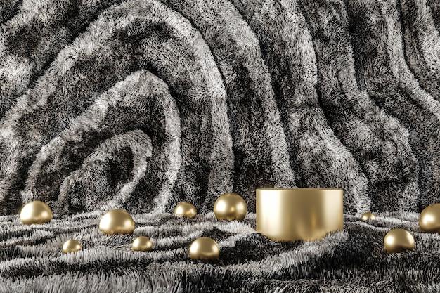 Pódio de ouro e muitas bolas em lã de padrão preto e branco. fundo abstrato para apresentação de produtos ou anúncios. renderização 3d
