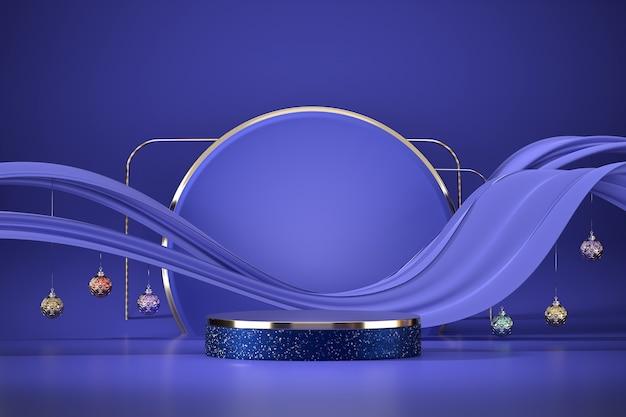 Pódio de palco abstrato para exibição de produtos com fundo roxo e bolas, renderização em 3d