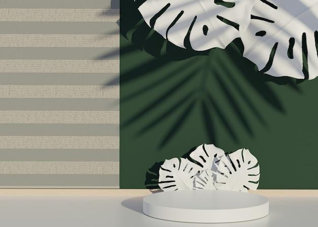 Pódio de palco de desfile de moda com palmeiras tropicais deixa sombras e planta monstera. cena vazia para o show do produto. fundo de horário de verão