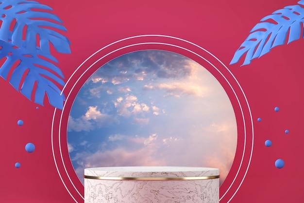 Pódio de palco de mármore abstrato para exibição de produtos com céu, renderização em 3d