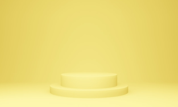 Pódio de palco geométrico amarelo 3d