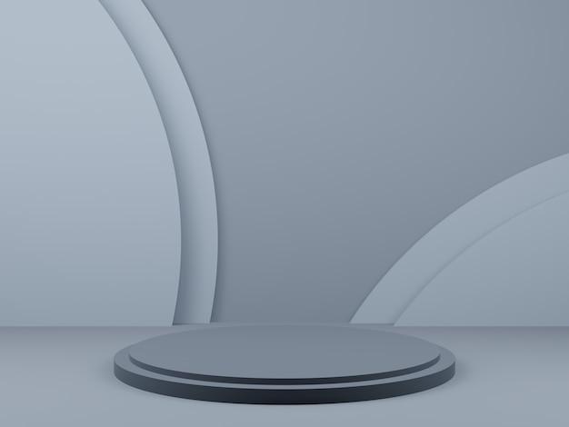 Pódio de palco geométrico cinza 3d