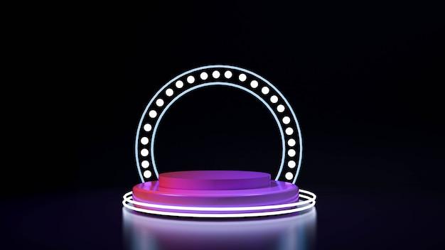 Pódio de palco realista com um raio elegante