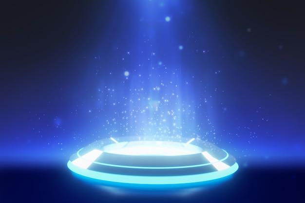 Pódio de palco redondo azul com fundo holofotes