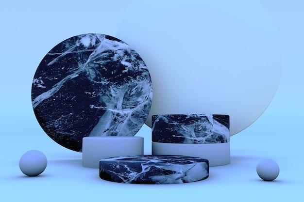 Pódio de pedestais de cilindro de mármore azul abstrato 3d sobre fundo azul