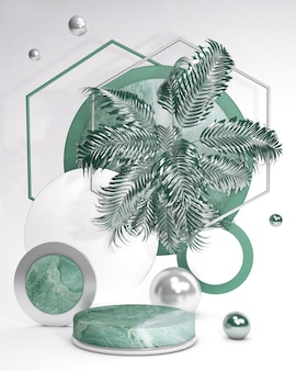 Pódio de pedestal 3d verde com folha de palmeira contra a parede branca vitrine de verão em mármore para produtos cosméticos de beleza ilustração vertical abstrata na moda